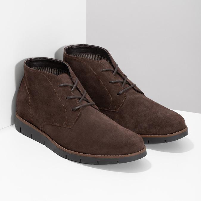 Pánska členková kožená hnedá obuv flexible, hnedá, 823-4632 - 26