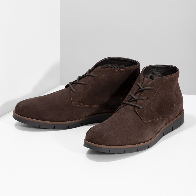 Pánska členková kožená hnedá obuv flexible, hnedá, 823-4632 - 16