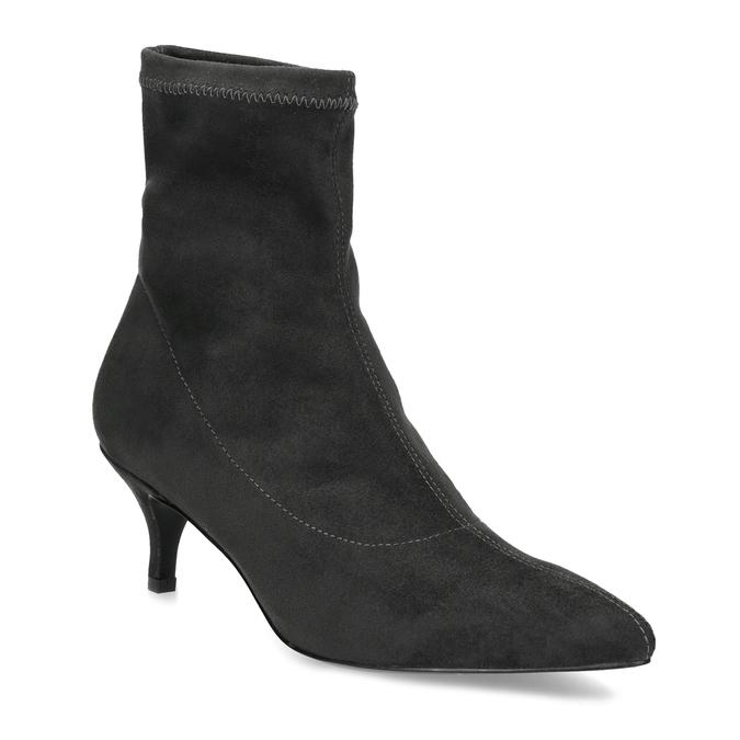 Šedé ponožkové čižmičky na Kitten podpätku bata, šedá, 699-2643 - 13