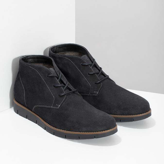 Pánska členková modrá kožená obuv flexible, modrá, 823-2632 - 26