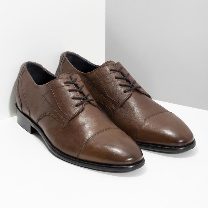 Pánske kožené hnedé Derby poltopánky bata, hnedá, 826-3782 - 26