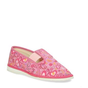 Ružové dievčenské prezuvky so vzorom bata, ružová, 179-5213 - 13