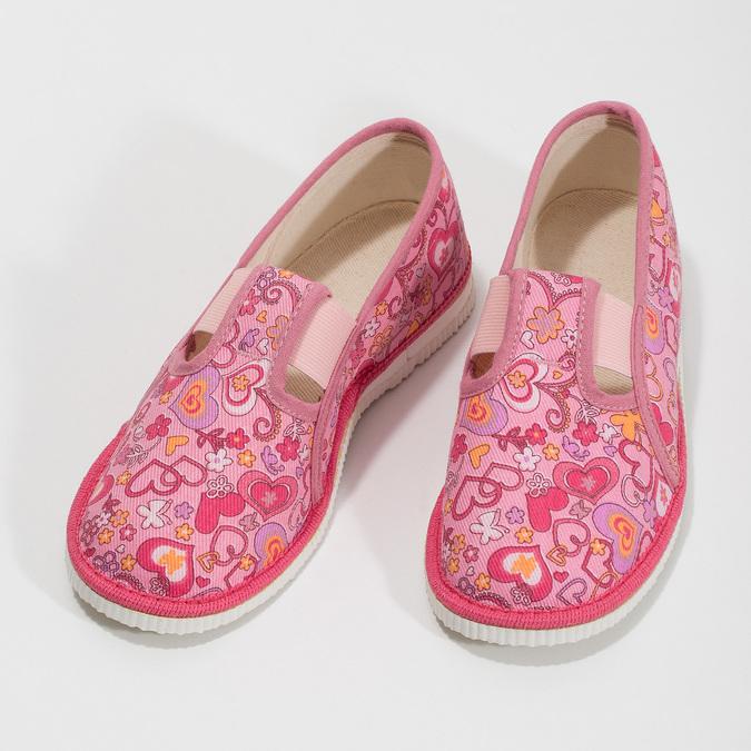 Ružové dievčenské prezuvky so vzorom bata, ružová, 179-5213 - 16