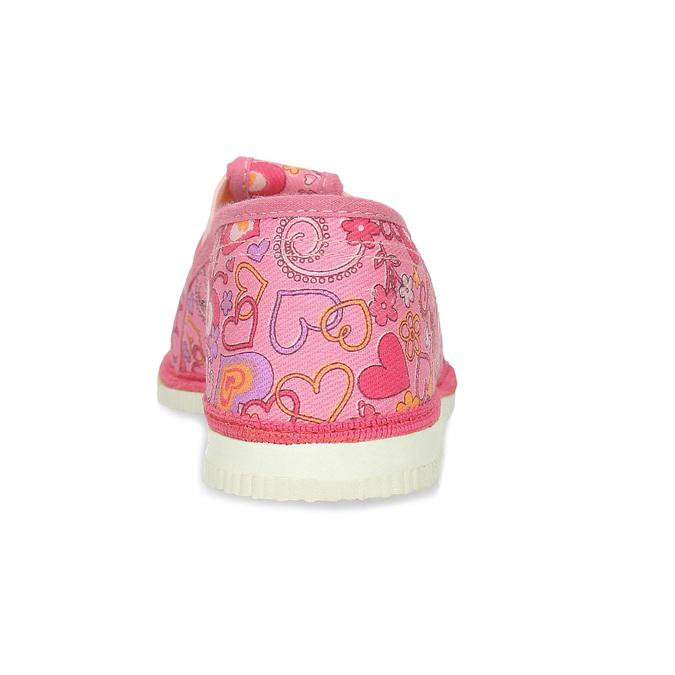 Ružové dievčenské prezuvky so vzorom bata, ružová, 179-5213 - 15