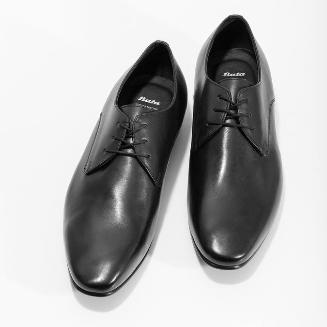 Čierne kožené poltopánky v Derby strihu bata, čierna, 824-6606 - 16