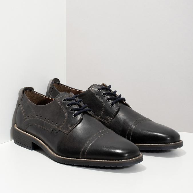 Pánske kožené Derby poltopánky bata, čierna, 826-2866 - 26