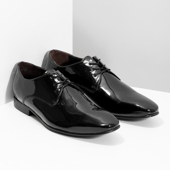 Pánske Derby poltopánky z lakovanej kože bata, čierna, 828-6606 - 26