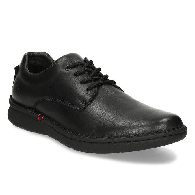 Pánske čierne kožené ležérne poltopánky bata, čierna, 824-6630 - 13