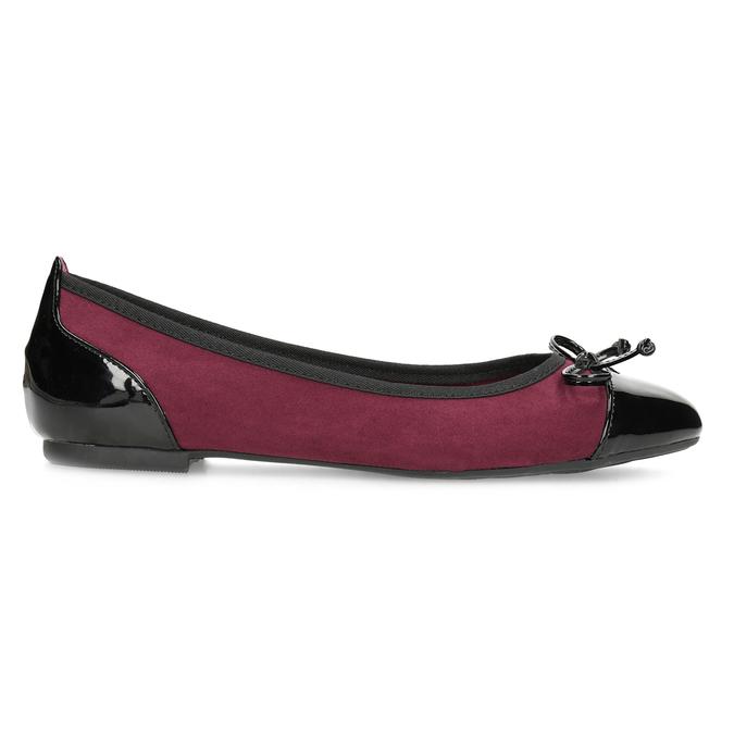 Vínové baleríny s lakovanou špičkou a pätou bata, červená, 529-5640 - 19