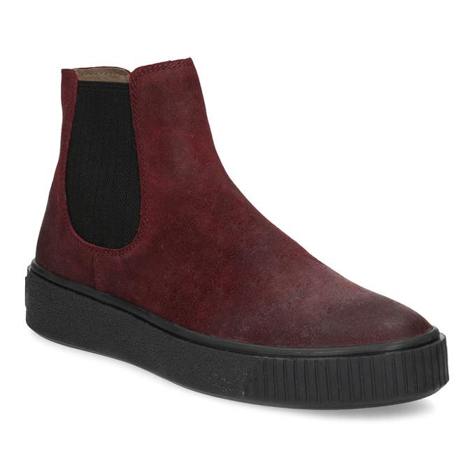 Kožená vínová dámska Chelsea obuv bata, červená, 596-5713 - 13