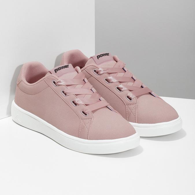 Ružové dámske tenisky so saténovými šnúrkami power, ružová, 501-5169 - 26