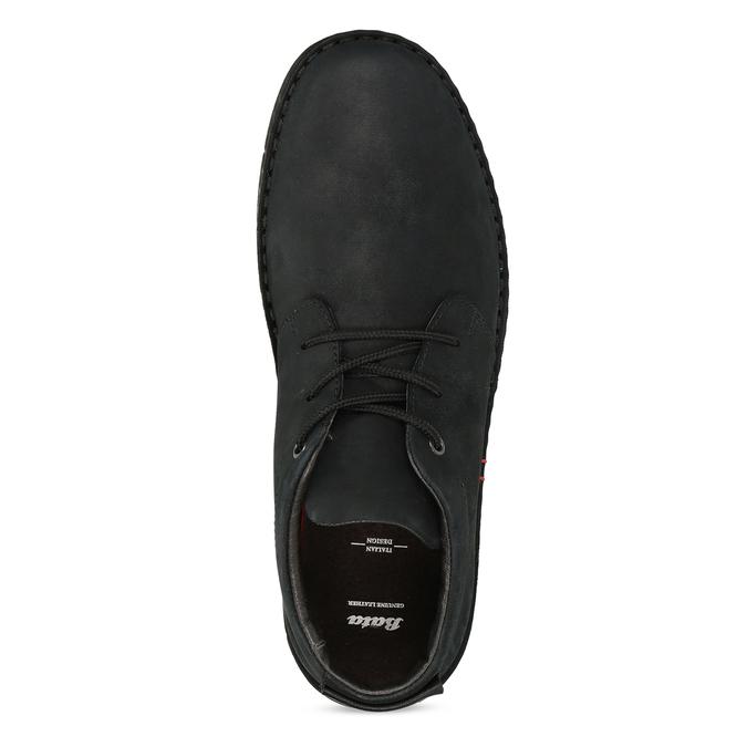 Pánska členková obuv z brúsenej kože bata, čierna, 846-6716 - 17