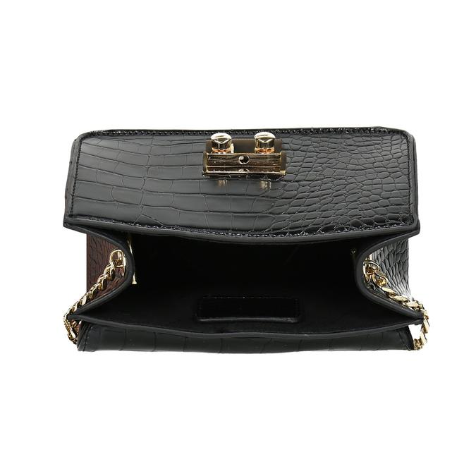 Čierna Crossbody kabelka so štruktúrou bata, čierna, 961-6869 - 15
