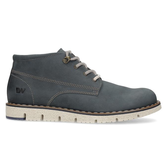 Pánska kožená členková modrá obuv weinbrenner, modrá, 846-9658 - 19