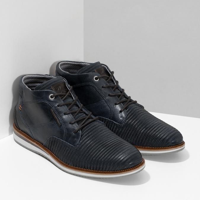 Modrá pánska kožená členková obuv bata, modrá, 826-9912 - 26