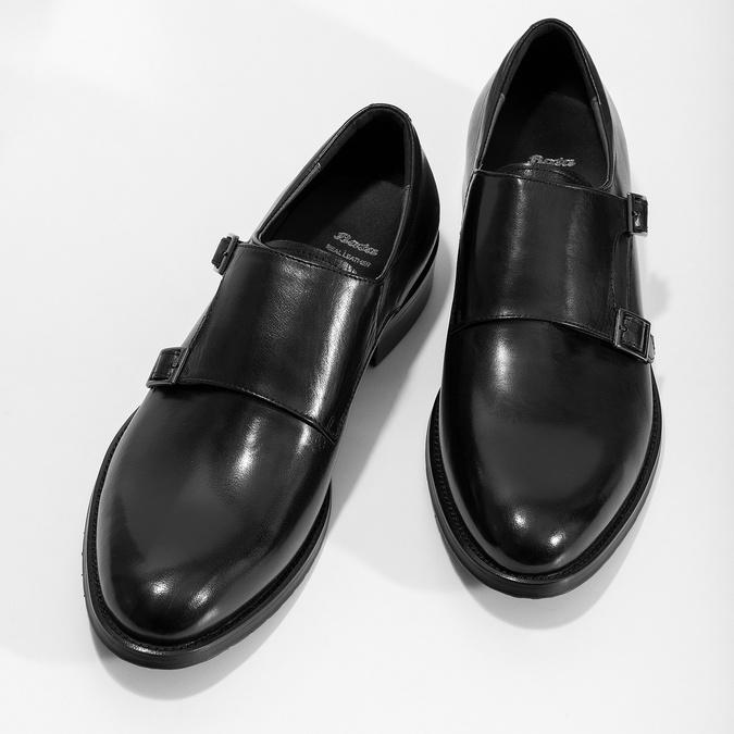 Pánske kožené Monk shoes čierne bata, čierna, 824-6632 - 16