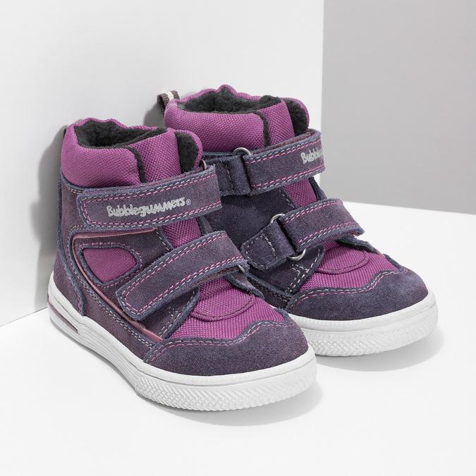 Členkové detské topánky s teplou podšívkou bubblegummers, fialová, 123-5610 - 26