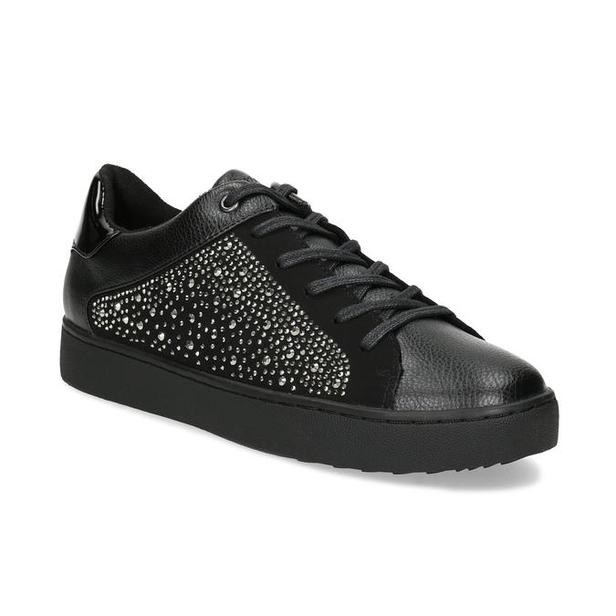 Čierne dámske tenisky s kamienkami bata-light, čierna, 549-6611 - 13
