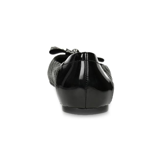 Čierne kožené baleríny s mašľou a prešívaním bata, čierna, 524-6667 - 15