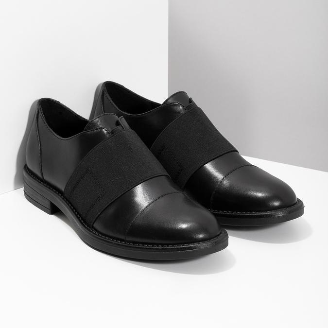 Kožené dámske poltopány s elastickým pruhom bata, čierna, 514-6602 - 26