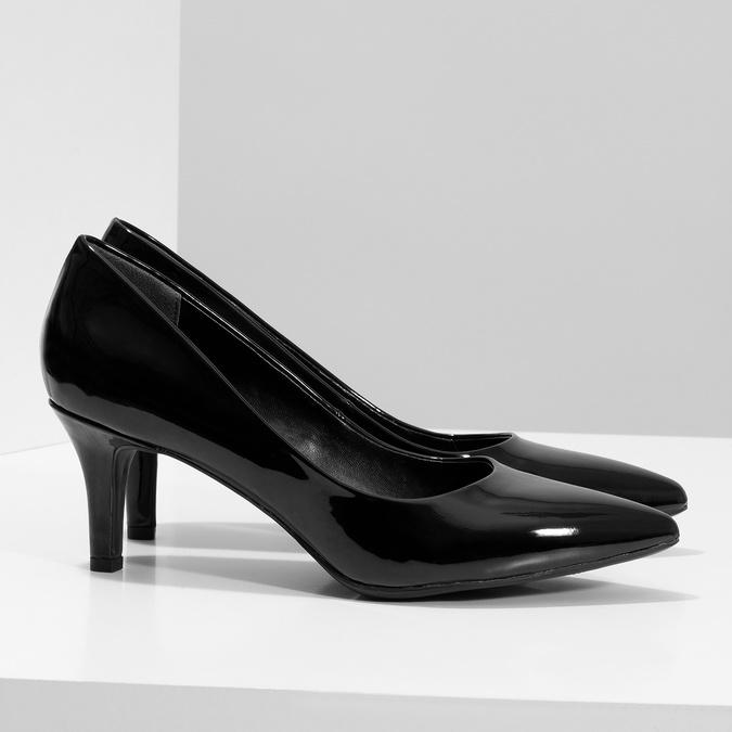 Čierne lodičky do špičky lesklé pillow-padding, čierna, 621-6648 - 16