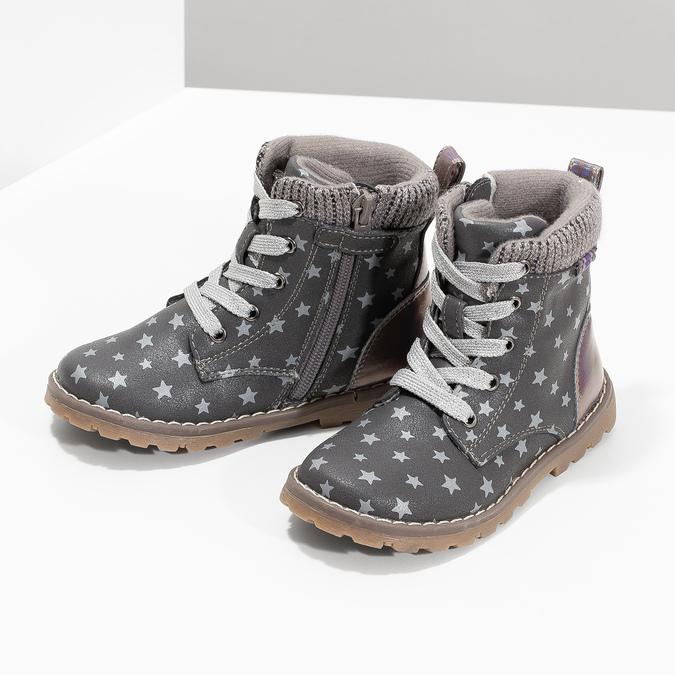 Šedá členková detská obuv s hviezdičkami mini-b, šedá, 221-2610 - 16