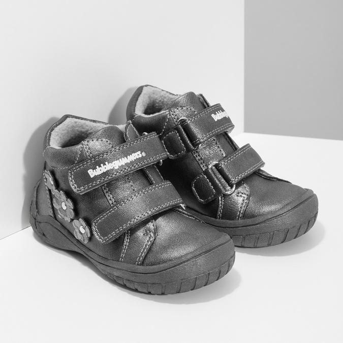 Dievčenské členkové topánky s kytičkami bubblegummers, šedá, 121-2622 - 26