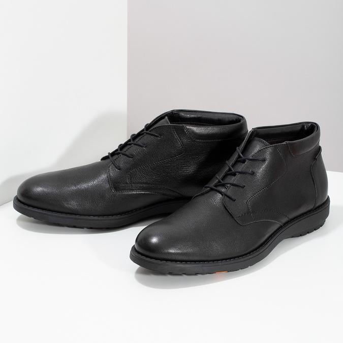 Členková čierna kožená pánska obuv flexible, čierna, 894-6704 - 16