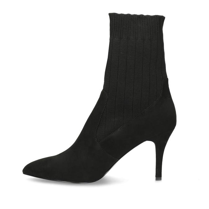 Čierne ponožkové čižmy na ihličkovom podpätku bata, čierna, 799-6640 - 17