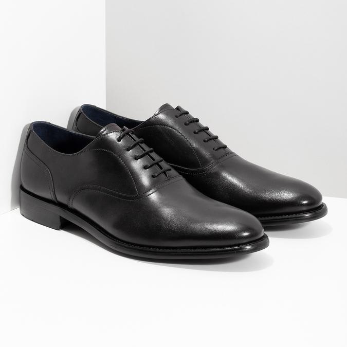 Pánske čierne kožené Oxford poltopánky bata, čierna, 824-6615 - 26
