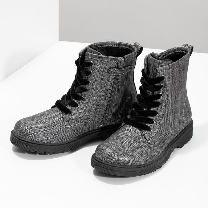 Členková detská obuv so zamatovými šnúrkami mini-b, šedá, 321-6620 - 16