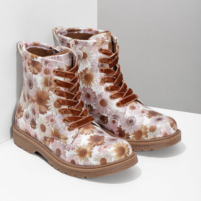 Detská členková obuv s kvetinovým vzorom mini-b, hnedá, 321-8620 - 26