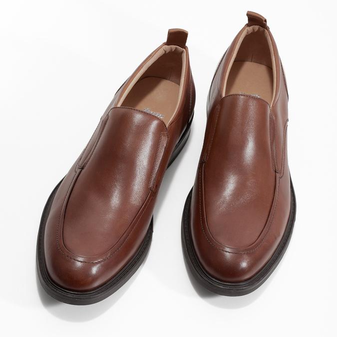 Hnedé kožené pánske mokasíny bata, hnedá, 816-3628 - 16