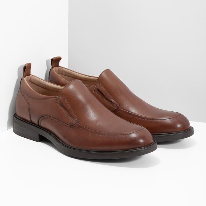 Hnedé kožené pánske mokasíny bata, hnedá, 816-3628 - 26