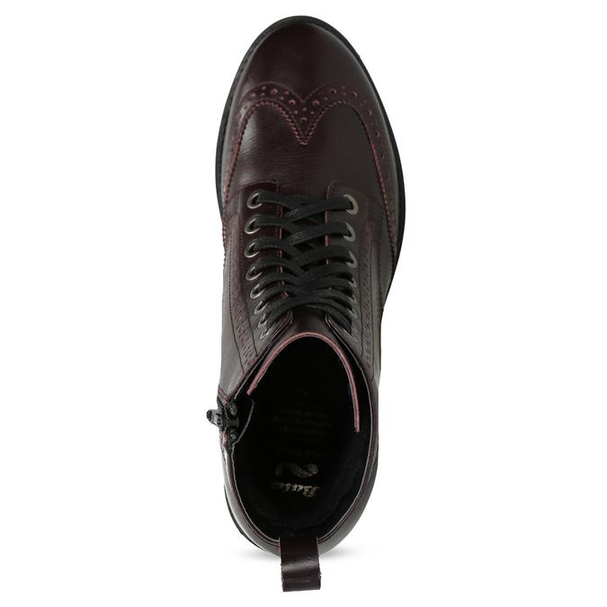 Kožená vínová dámska členková obuv flexible, červená, 596-5695 - 17