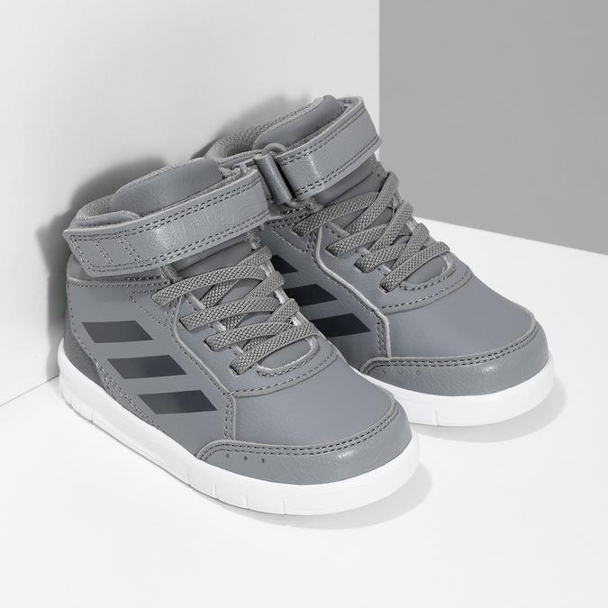 Šedé členkové detské tenisky na suchý zips adidas, šedá, 101-2220 - 26