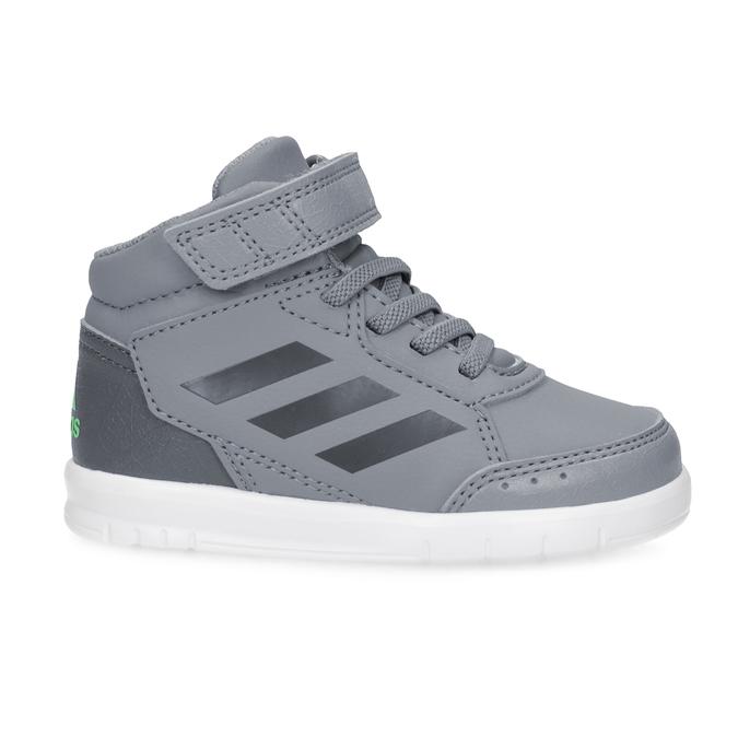 Šedé členkové detské tenisky na suchý zips adidas, šedá, 101-2220 - 19