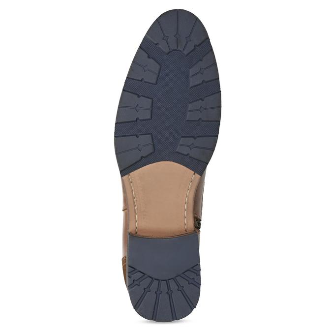 Hnedá kožená členková obuv s prackou bata, hnedá, 826-4781 - 18