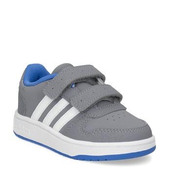 Šedé detské tenisky s modrými detailami adidas, šedá, 101-2194 - 13