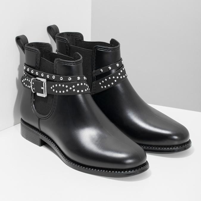 Členkové dámske gumáky s prackou bata, čierna, 592-6601 - 26
