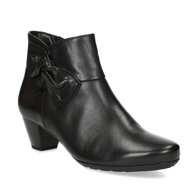Čierne kožené členkové čižmy s mašľou gabor, čierna, 614-6005 - 13