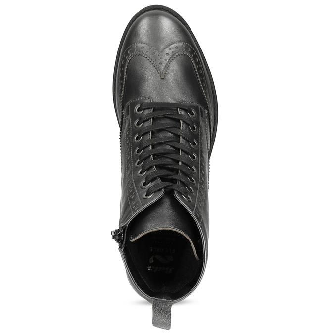 Dámska kožená metalická členková obuv flexible, strieborná, 596-6695 - 17
