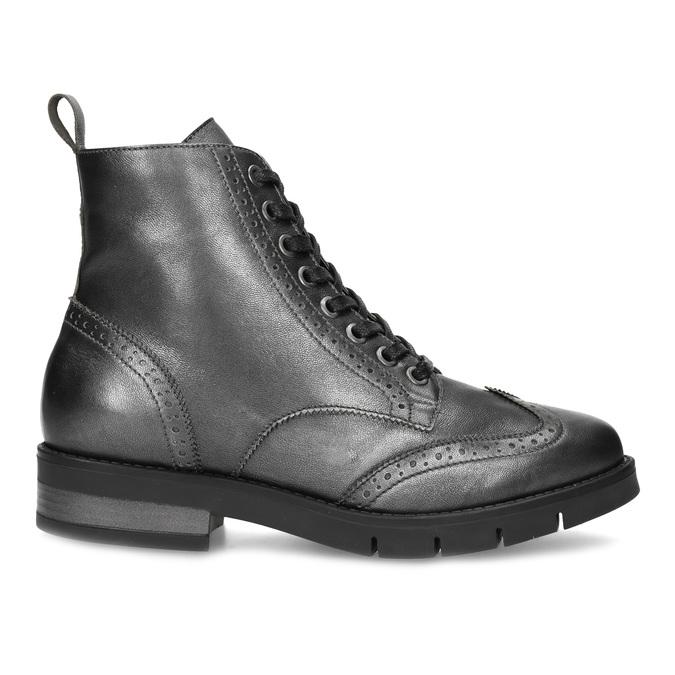 Dámska kožená metalická členková obuv flexible, strieborná, 596-6695 - 19
