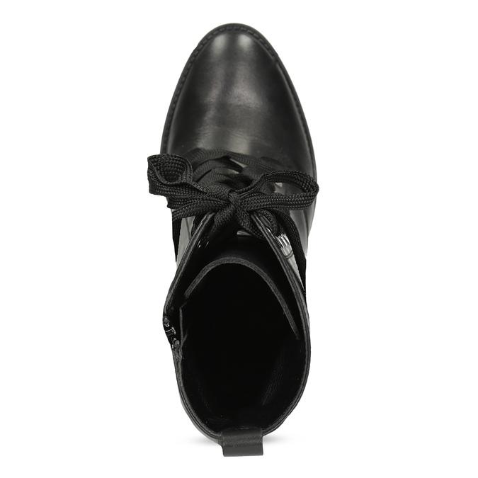 Dámske kožené poltopánky s viazaním flexible, čierna, 794-6654 - 17
