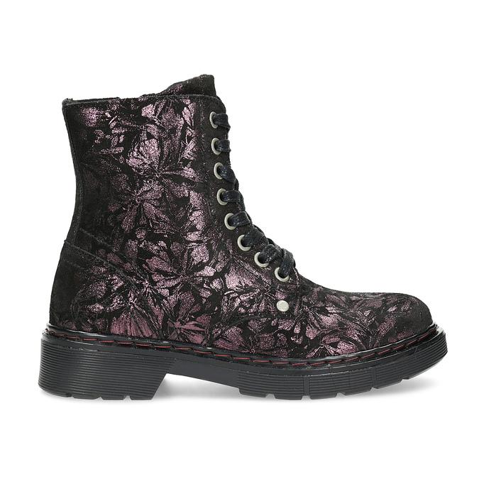 Členková kožená detská obuv so vzorom mini-b, hnedá, 426-4560 - 19