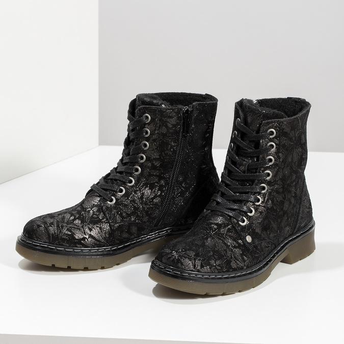 Detská kožená členková obuv so vzorom mini-b, čierna, 426-2560 - 16