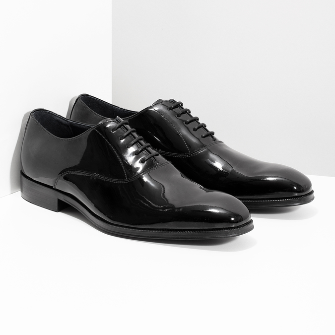 Pánske lakované kožené Oxford poltopánky bata, čierna, 828-6608 - 26