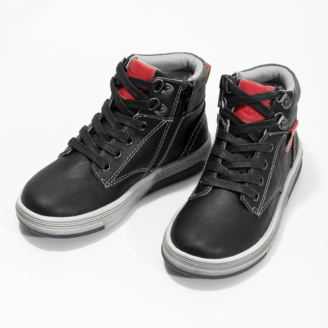 Členkové detské tenisky s červenými detailmi mini-b, čierna, 211-6626 - 16