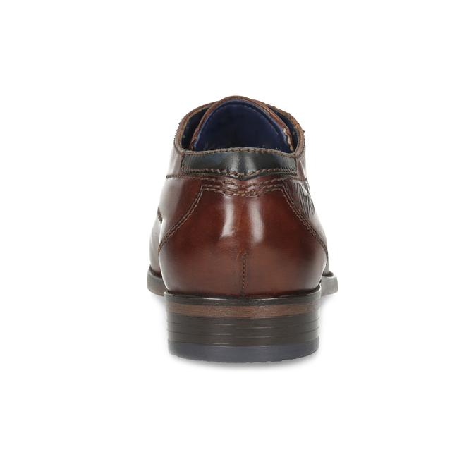 Kožené hnedé poltopánky so vzorom bugatti, hnedá, 826-4078 - 15