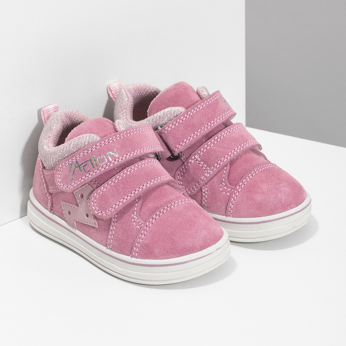 Ružové detské kožené tenisky bubblegummers, ružová, 123-5611 - 26